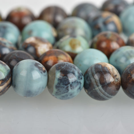 8mm Agate Beads, Round ROBIN'S EGG BLUE Green Gemstone Beads, Smooth Round Beads, blue green, tan, full strand, 46 beads, gag0364