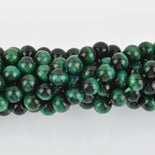 8mm Round TIGER EYE Beads, Green Dyed, gemstone strand gem0407