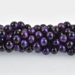 8mm Round TIGER EYE Beads, Purple Dyed, gemstone strand gem0408