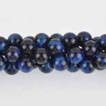 8mm Round TIGER EYE Beads, Navy Blue Dyed, gemstone strand gem0409