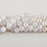 12mm MOONSTONE Round Beads, faceted electroplate gemstones, full strand, gem0439