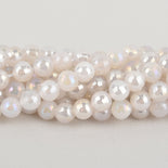8mm MOONSTONE Round Beads, faceted electroplate gemstones, full strand, gem0441