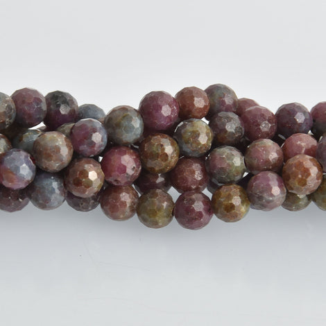 10mm Ruby Corundum Gemstone Beads, round natural stones, faceted, x10 beads, gem0468