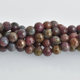 12mm Ruby Corundum Gemstone Beads, round natural stones, faceted, x10 beads, gem0469