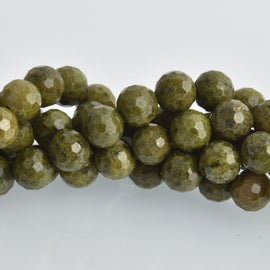 12mm Epidote Pyrite Gemstone Beads, round natural stones, faceted, strand, gem0473