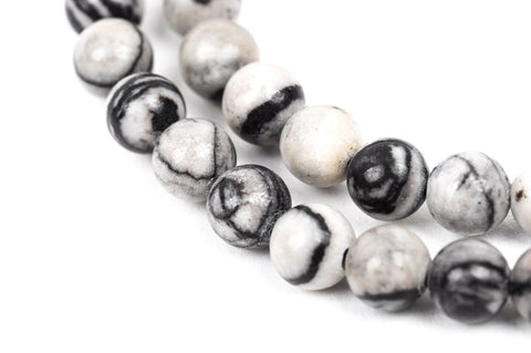 12mm Polished Round ZEBRA JASPER Beads, natural gemstones, black and white, full strand, gja0081