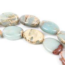 14x10mm AQUA TERRA JASPER Flat Oval Gemstone Beads, natural, blue green, tan, full strand gja0019