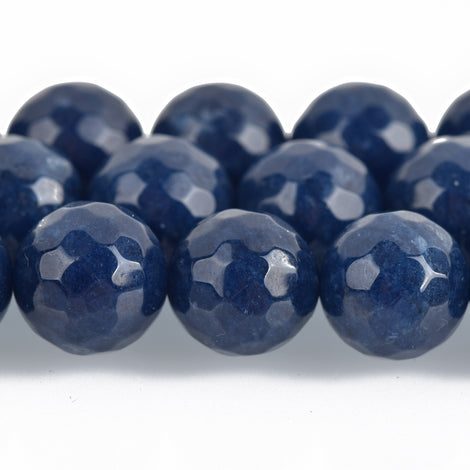 12mm Round Faceted NAVY BLUE JADE Gemstone Beads, full strand gjd0090