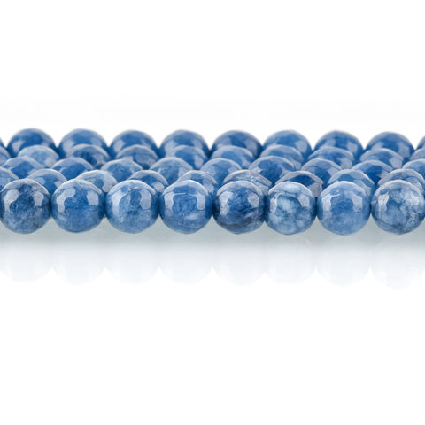 6mm Round Faceted DENIM BLUE JADE Gemstone Beads, full strand, 63 beads, gjd0205