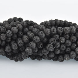 8mm Round BLACK LAVA Beads, perfume diffuser beads, essential oil beads, lava stone beads, full strand, about 47 beads, glv0017
