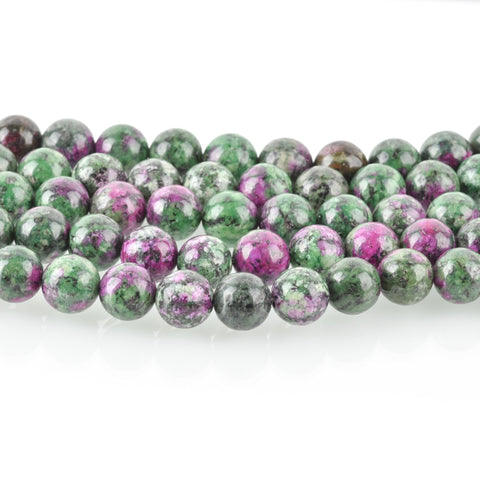 8mm RUBY ZOISITE Round Gemstone Beads green and ruby purple full strand 47 beads gms0052