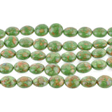 1 strand Magnesite Stone Beads Variegated Puffy GREEN COIN CIRCLE Round . 12mm gmx0004