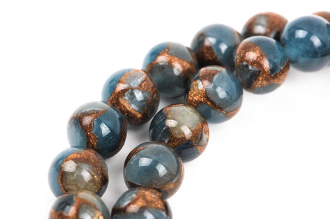 6mm Light Denim Blue Composite Golden Quartz Round Beads, non-faceted, 1 strand, gmx0023