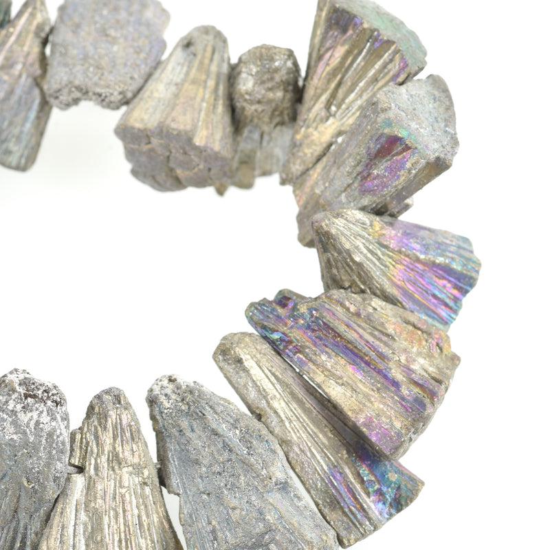 RAINBOW PYRITE Fools Gold Gemstone Beads, Sunburst Triangle Shape, focal pendant beads, full strand, gpy0013