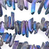 "Natural BLUE RAINBOW QUARTZ Point Crystal Beads, metallic plated, about 5/8"" to 1"" long about 65 beads, gqz0059"