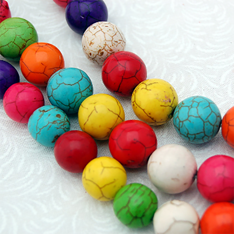 10mm Howlite Stone Beads ROUND BALL, mixed colors, full strand, how0211
