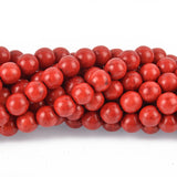 12mm RED Howlite Stone Beads ROUND Ball Crimson Red, full strand, how0276