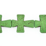 2 Large Howlite Cross Beads KELLY GREEN CROSS 36x30mm  how0307a