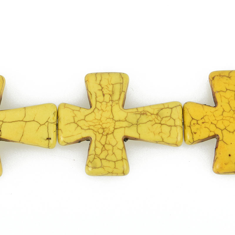 2 Large Howlite Stone Beads YELLOW Maltese CROSS  36x30mm  how0315a
