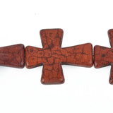 2 pcs. Large Howlite Stone Beads CHOCOLATE BROWN Maltese CROSS . 36x30mm how0326a