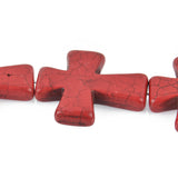 Large Howlite Stone Beads RED Maltese CROSS . 36x30mm, full strand, how0359b