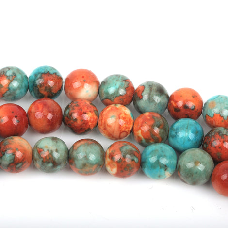 4mm MOSAIC HOWLITE Round Beads, turquoise blue, dark orange, white marble, full strand, about 97 beads, how0507