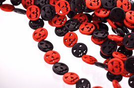 25mm BLACK and ORANGE Carved Jack O Lantern Beads, carved howlite stone, full strand, 16 beads, how0547