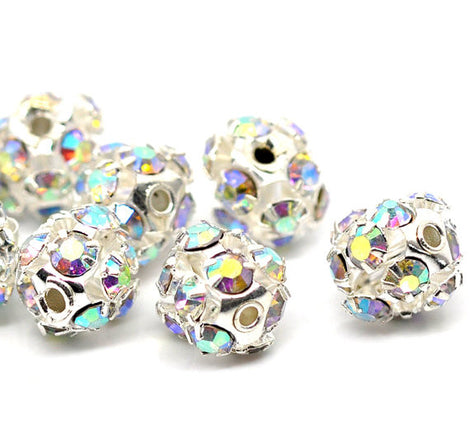 10 pc Silver Plated Crystal Disco Ball Spacer Beads Fireball . 8mm Aurora Borealis AB Finish bme0048