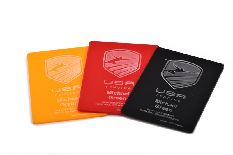 Fencing Referee Card Pack, personalized set of yellow, red, and black acrylic, custom engraved with your design, Lca0431