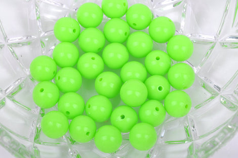 12mm LIME GREEN Acrylic Bubblegum Beads, package of 30 beads,  bac0324