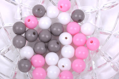 12mm PINK, GREY, WHITE Acrylic Bubblegum Beads, package of 30 beads,  bac0334