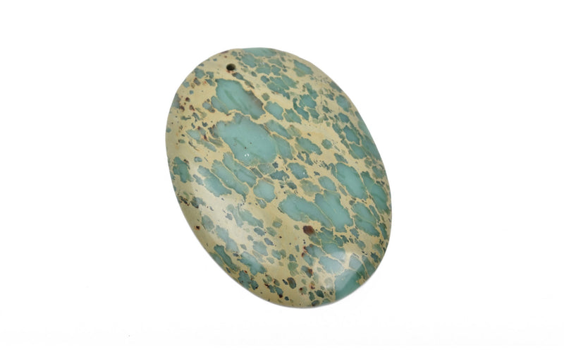 "AQUA TERRA JASPER Oval Pendant Bead, blue green and tan gemstone bead, 55x40mm, 2-1/4"" x 1-5/8"" cgm0053"