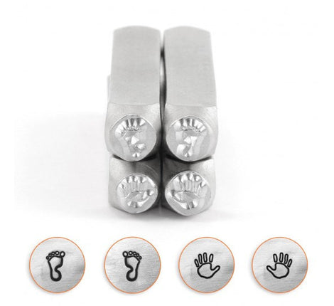 BABY HAND and FOOT Prints, Metal Stamping, Set of 4 ImpressArt Metal Design Stamps, 4-pack, 9.5mm, tol0521