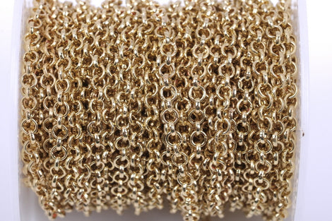 1 yard (3 feet) Light Gold Rolo Chain, Round Rolo Links are 3mm, fch0397a