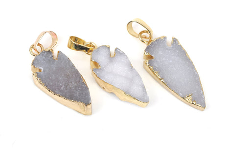 5 druzy arrowhead pendants brass bail gold bail white to grey 5 druzy arrowhead pendants brass bail gold bail white to grey arrow natural aloadofball Choice Image