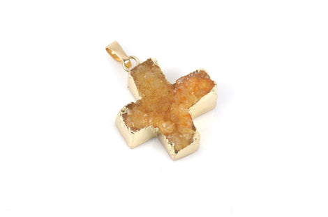 GOLDEN YELLOW DRUZY Maltese Cross Pendants, Brass Bail, Gold Bail, Natural Druzy Agate Quartz Gemstones, 28mm long, gdz0173