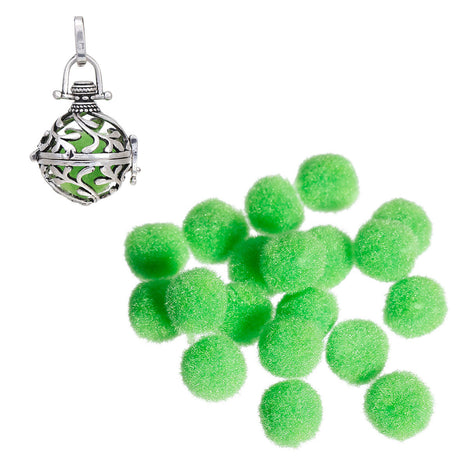 10 OIL DIFFUSER Puff Balls, Lime Green Fiber Balls Fits 14-20mm Mexican Angel Caller Wish Box Essential Oil Perfume Diffuser, cft0024