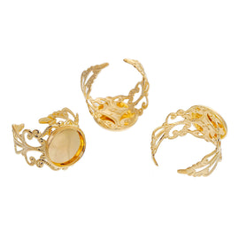5 Gold Filigree Cabochon Ring Blanks, Fits 12mm round cabochon, 12mm bezel tray, METALLIC gold plate, adjustable sizing, fin0565