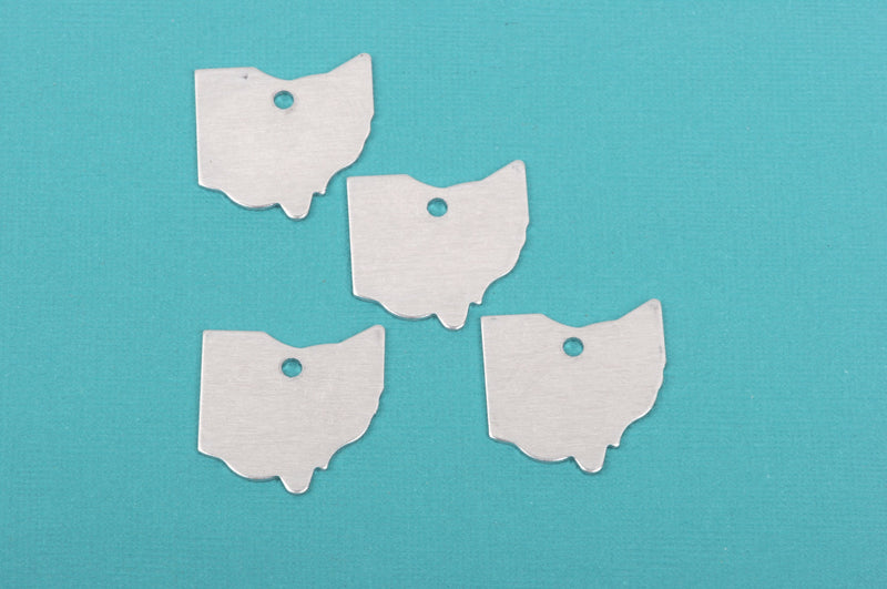 10 ALUMINUM OHIO STATE Stamping Blanks, Shape of State, Design Metal Stamping Blanks, 29x29mm, 18 gauge, msb0314