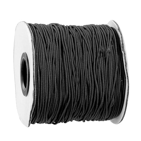 Bulk Roll 90 Meters JET BLACK Cotton and Elastic Stretchy Cord, 1mm,  cor0112