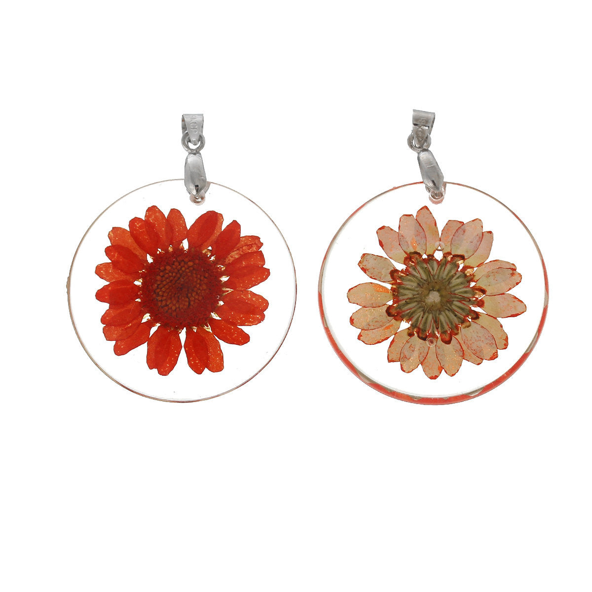 2 acrylic pendants natural real flowers coral red flower with 2 acrylic pendants natural real flowers coral red flower with leaves circle disc mozeypictures Image collections