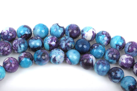 8mm MOSAIC HOWLITE Round Beads, turquoise blue, purple, white, full strand, about 49 beads, how0482
