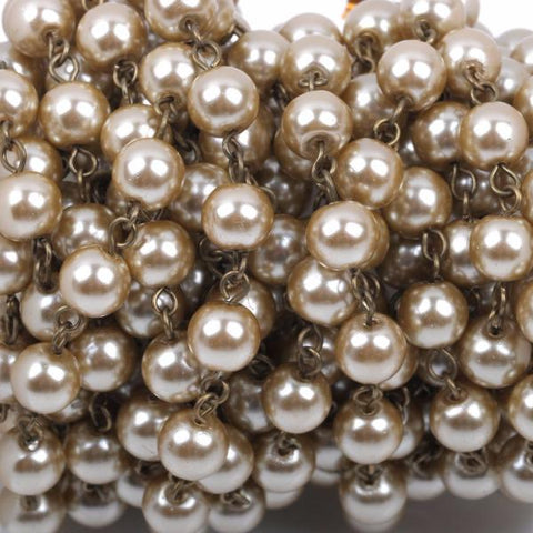 13 feet (4.33 yards) Taupe Light Brown Pearl Rosary Chain, bronze wire, 8mm round glass pearl beads, fch0412b