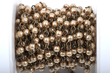 1 yard Taupe Light Brown Pearl Rosary Chain, bronze wire, 4mm round glass pearl beads, fch0414a