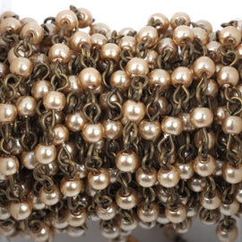 13 feet Taupe Light Brown Pearl Rosary Chain, bronze wire, 4mm round glass pearl beads, fch0414b