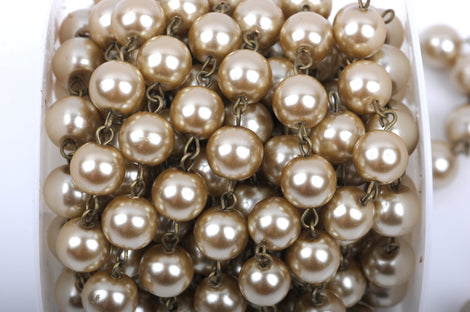 10 feet (3.33 yards) Taupe Pearl Rosary Chain, bronze, 12mm round glass pearl beads, fch0420b