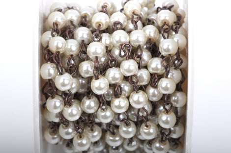 1 yard Ivory Off White Pearl Rosary Chain, antique copper, 6mm round glass pearl beads, fch0423a