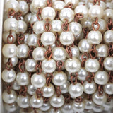 1 yard Ivory Off White Pearl Rosary Chain, copper, 6mm round glass pearl beads, fch0424a
