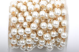 1 yard Ivory Off-White Pearl Rosary Chain, bright gold wire, 8mm round glass pearl beads, fch0426a