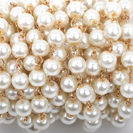 13 feet Ivory Off-White Pearl Rosary Chain, bright gold wire, 8mm round glass pearl beads, fch0426b